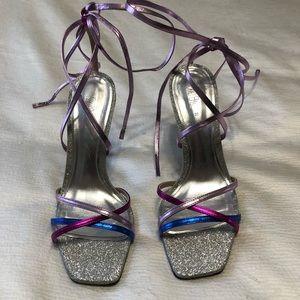 Zara blue collection multicolor heels
